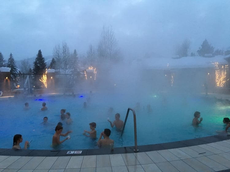 Sun Valley Lodge's pool is heated to 100 degrees